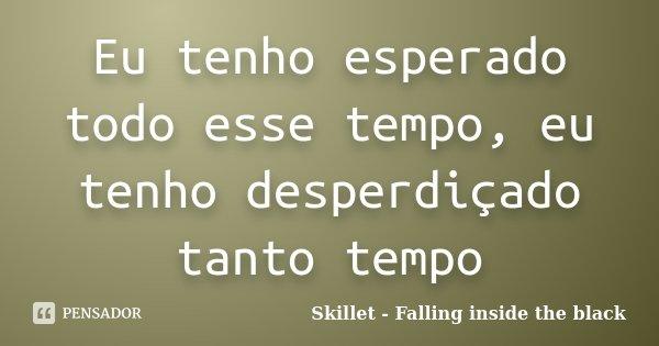 Eu tenho esperado todo esse tempo, eu tenho desperdiçado tanto tempo... Frase de Skillet - Falling inside the black.