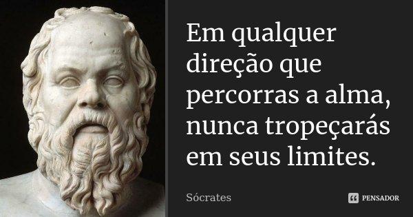Em qualquer direção que percorras a alma, nunca tropeçarás em seus limites.... Frase de Socrates.