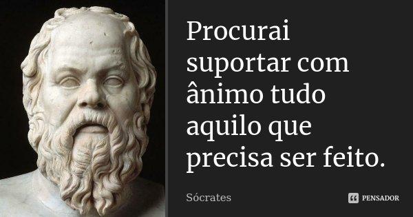 Procurai suportar com ânimo tudo aquilo que precisa ser feito.... Frase de Sócrates.