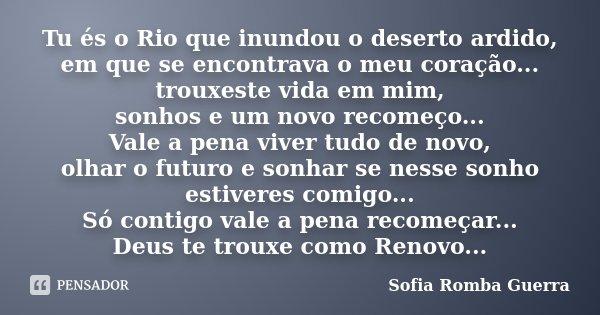 Tu és o Rio que inundou o deserto ardido, em que se encontrava o meu coração... trouxeste vida em mim, sonhos e um novo recomeço... Vale a pena viver tudo de no... Frase de Sofia Romba Guerra.