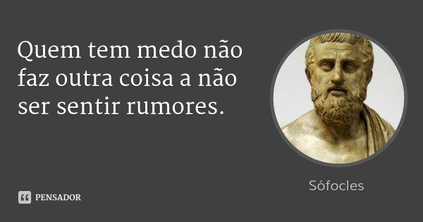 Quem tem medo não faz outra coisa a não ser sentir rumores.... Frase de Sófocles.