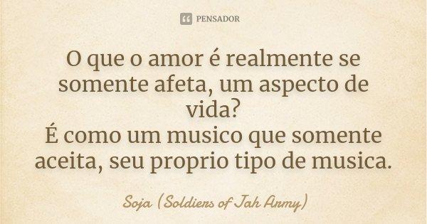 O que o amor é realmente se somente afeta, um aspecto de vida? É como um musico que somente aceita, seu proprio tipo de musica.... Frase de Soja (Soldiers of Jah Army).