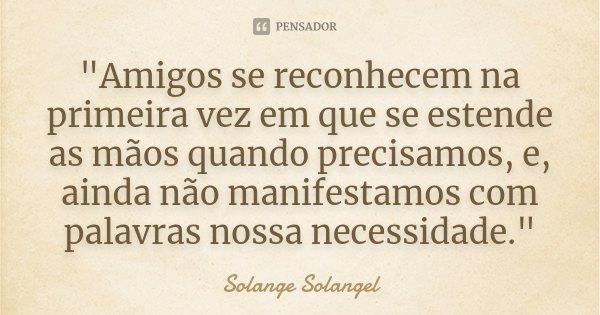 """""""Amigos se reconhecem na primeira vez em que se estende as mãos quando precisamos, e, ainda não manifestamos com palavras nossa necessidade.""""... Frase de Solange Solangel."""