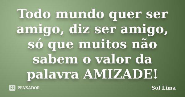 Todo mundo quer ser amigo, diz ser amigo, só que muitos não sabem o valor da palavra AMIZADE!... Frase de Sol Lima.