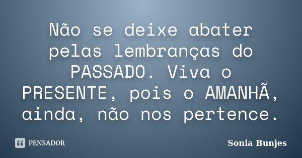 Não se deixe abater pelas lembranças do PASSADO. Viva o PRESENTE, pois o AMANHÃ, ainda, não nos pertence.... Frase de Sonia Bunjes.