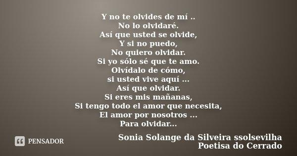 Y No Te Olvides De Mí No Lo Sonia Solange Da Silveira