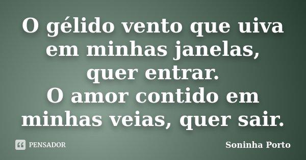O gélido vento que uiva em minhas janelas, quer entrar. O amor contido em minhas veias, quer sair.... Frase de Soninha Porto.