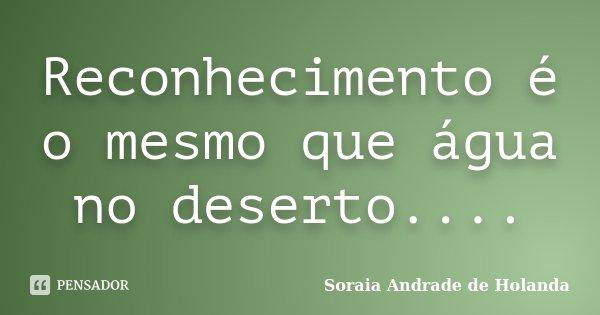 Reconhecimento é o mesmo que água no deserto....... Frase de Soraia Andrade de Holanda.