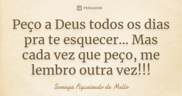 Peço a Deus todos os dias pra te esquecer... Mas cada vez que peço, me lembro outra vez!!!... Frase de Soraya Figueiredo de Mello.