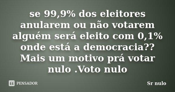 se 99,9% dos eleitores anularem ou não votarem alguém será eleito com 0,1% onde está a democracia?? Mais um motivo prá votar nulo .Voto nulo... Frase de Sr nulo.