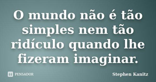O mundo não é tão simples nem tão ridículo quando lhe fizeram imaginar.... Frase de Stephen Kanitz.