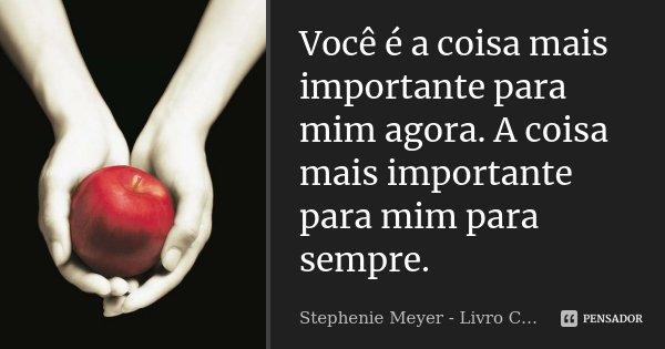 Você é a coisa mais importante para mim agora. A coisa mais importante para mim para sempre.... Frase de Stephenie Meyer - Livro Crepúsculo.