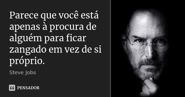 Parece que você está apenas à procura de alguém para ficar zangado em vez de si próprio.... Frase de Steve Jobs.