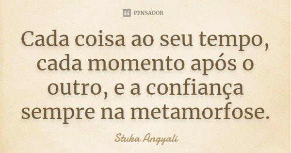 Cada coisa ao seu tempo, cada momento após o outro, e a confiança sempre na metamorfose.... Frase de Stuka Angyali.