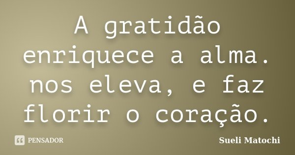 A gratidão enriquece a alma. nos eleva, e faz florir o coração.... Frase de Sueli Matochi.