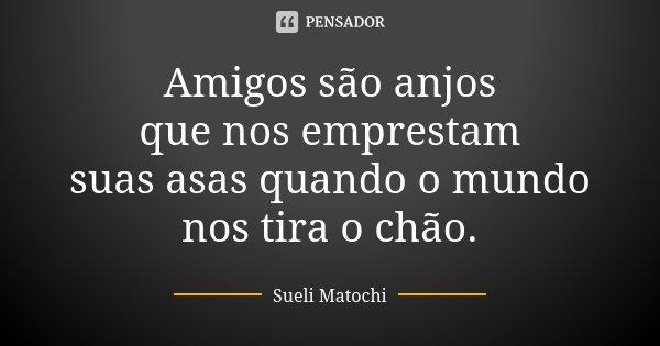 Amigos são anjos que nos emprestam suas asas quando o mundo nos tira o chão.... Frase de Sueli Matochi.