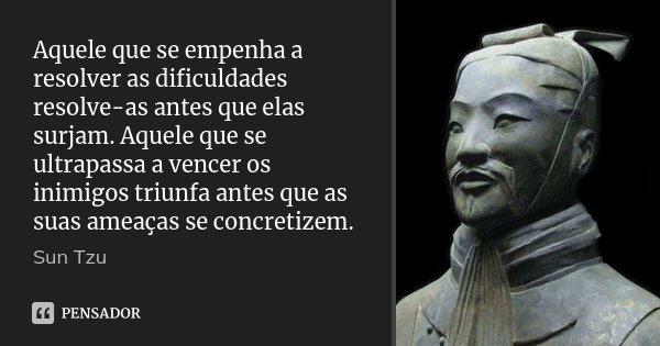 Aquele que se empenha a resolver as dificuldades resolve-as antes que elas surjam. Aquele que se ultrapassa a vencer os inimigos triunfa antes que as suas ameaç... Frase de Sun Tzu.
