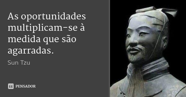 As oportunidades multiplicam-se à medida que são agarradas.... Frase de Sun Tzu.