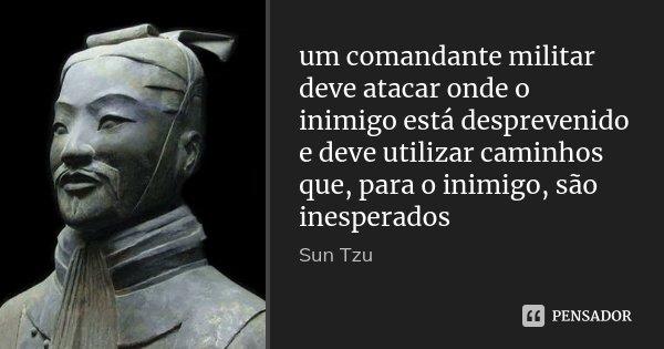 um comandante militar deve atacar onde o inimigo está desprevenido e deve utilizar caminhos que, para o inimigo, são inesperados... Frase de Sun Tzu.