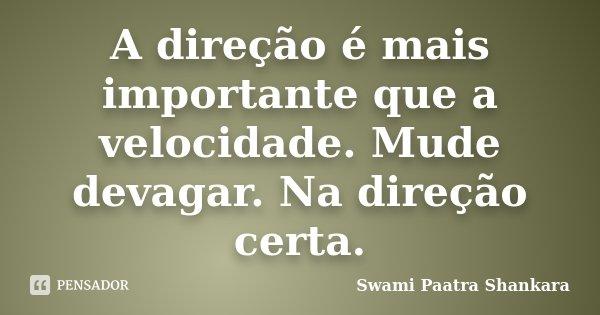 A direção é mais importante que a velocidade. Mude devagar. Na direção certa.... Frase de Swami Paatra Shankara.