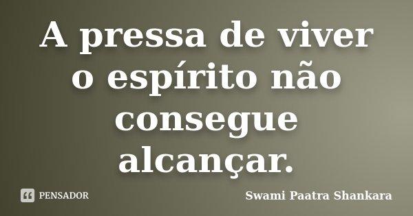 A pressa de viver o espírito não consegue alcançar.... Frase de Swami Paatra Shankara.