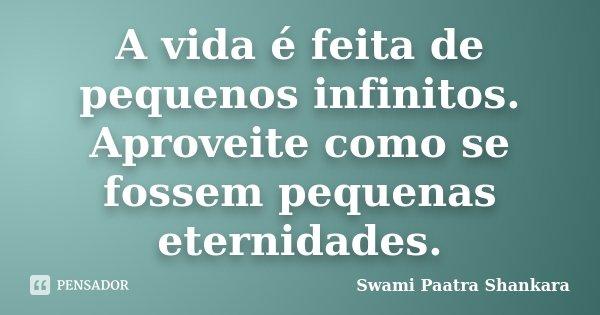 A vida é feita de pequenos infinitos. Aproveite como se fossem pequenas eternidades.... Frase de Swami Paatra Shankara.