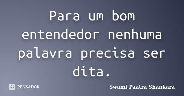 Para um bom entendedor nenhuma palavra precisa ser dita.... Frase de Swami Paatra Shankara.