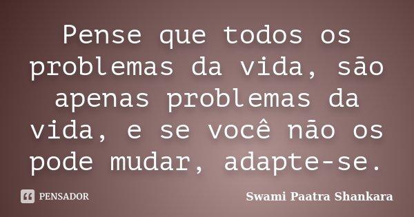 Pense que todos os problemas da vida, são apenas problemas da vida, e se você não os pode mudar, adapte-se.... Frase de Swami Paatra Shankara.