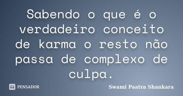 Sabendo o que é o verdadeiro conceito de karma o resto não passa de complexo de culpa.... Frase de Swami Paatra Shankara.