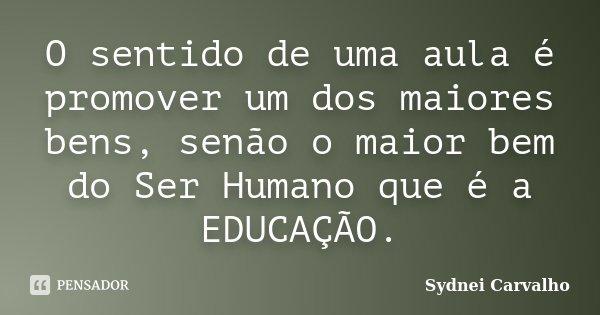O sentido de uma aula é promover um dos maiores bens, senão o maior bem do Ser Humano que é a EDUCAÇÃO.... Frase de Sydnei Carvalho.