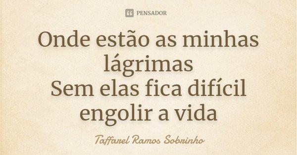 Onde estão as minhas lágrimas Sem elas fica difícil engolir a vida... Frase de Taffarel Ramos Sobrinho.