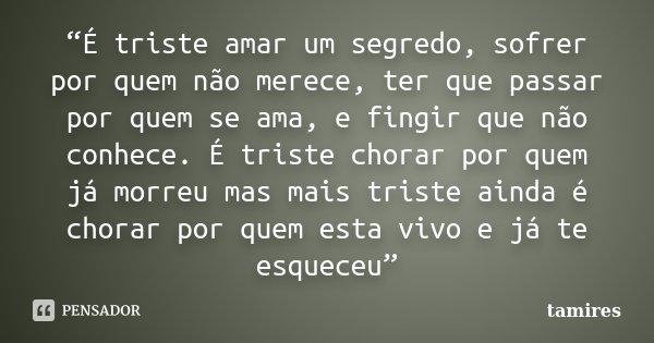 """""""É triste amar um segredo, sofrer por quem não merece, ter que passar por quem se ama, e fingir que não conhece. É triste chorar por quem já morreu mas mais tri... Frase de tamires."""