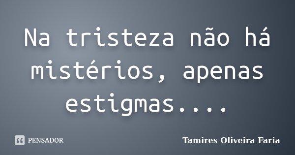 Na tristeza não há mistérios, apenas estigmas....... Frase de Tamires Oliveira Faria.