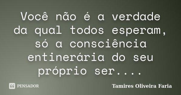 Você não é a verdade da qual todos esperam, só a consciência entinerária do seu próprio ser....... Frase de Tamires Oliveira Faria.