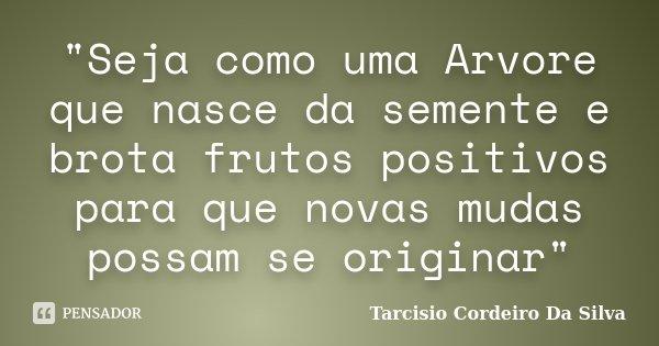 """""""Seja como uma Arvore que nasce da semente e brota frutos positivos para que novas mudas possam se originar""""... Frase de Tarcisio Cordeiro Da Silva."""