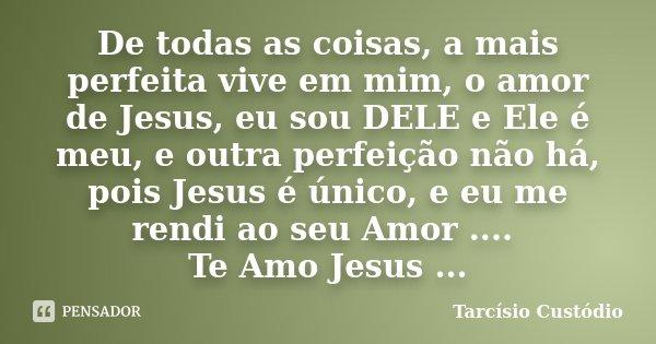 De todas as coisas, a mais perfeita vive em mim, o amor de Jesus, eu sou DELE e Ele é meu, e outra perfeição não há, pois Jesus é único, e eu me rendi ao seu Am... Frase de Tarcísio Custódio.
