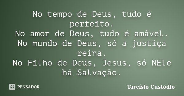 No Tempo De Deus Tudo é Perfeito No Tarcísio Custódio