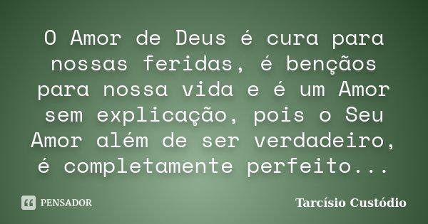 O Amor de Deus é cura para nossas feridas, é bençãos para nossa vida e é um Amor sem explicação, pois o Seu Amor além de ser verdadeiro, é completamente perfeit... Frase de Tarcísio Custódio.