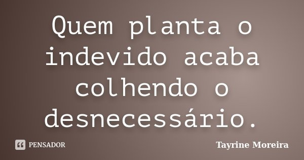 Quem planta o indevido acaba colhendo o desnecessário.... Frase de Tayrine Moreira.