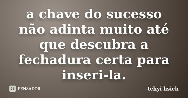 a chave do sucesso não adinta muito até que descubra a fechadura certa para inseri-la.... Frase de tehyi hsieh.