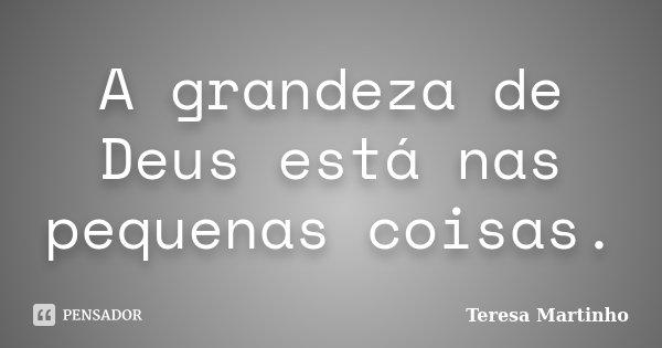 A grandeza de Deus está nas pequenas coisas.... Frase de Teresa Martinho.