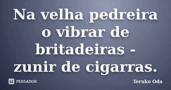 Na velha pedreira o vibrar de britadeiras - zunir de cigarras.... Frase de Teruko Oda.