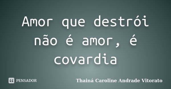Amor que destrói não é amor, é covardia... Frase de Thainá Caroline Andrade Vitorato.