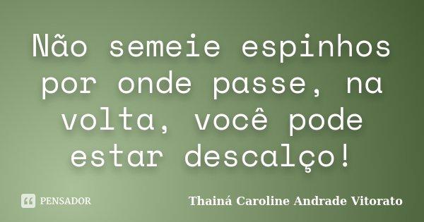 Não semeie espinhos por onde passe, na volta, você pode estar descalço!... Frase de Thainá Caroline Andrade Vitorato.