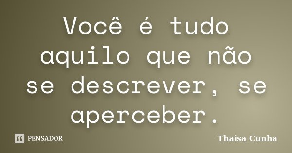 Você é tudo aquilo que não se descrever, se aperceber.... Frase de Thaisa Cunha.