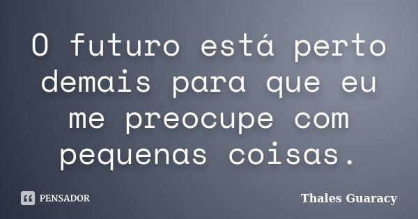 O futuro está perto demais para que eu me preocupe com pequenas coisas.... Frase de Thales Guaracy.