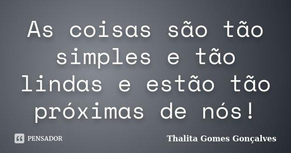 As coisas são tão simples e tão lindas e estão tão próximas de nós!... Frase de Thalita Gomes Gonçalves.