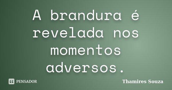 A brandura é revelada nos momentos adversos.... Frase de Thamires Souza.