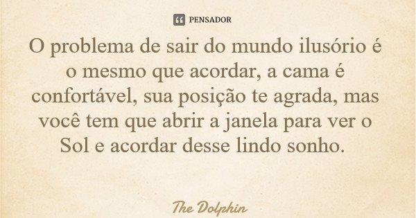 O problema de sair do mundo ilusório é o mesmo que acordar, a cama é confortável, sua posição te agrada, mas você tem que abrir a janela para ver o Sol e acorda... Frase de The Dolphin.