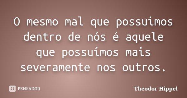 O mesmo mal que possuimos dentro de nós é aquele que possuímos mais severamente nos outros.... Frase de Theodor Hippel.